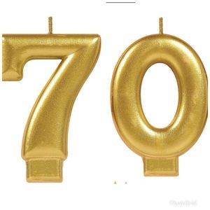 """Other - Gold metallic """"70"""" number candles"""